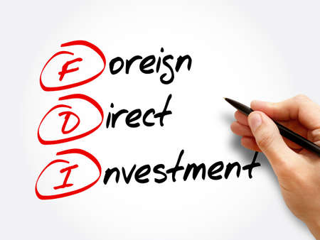 FDI - Foreign Direct Investment, acronym business concept background