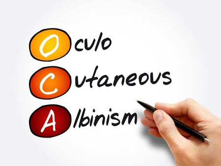 OCA - Oculo Cutaneous Albinism acronym, concept background