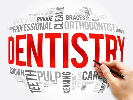 Zahnheilkunde Wortwolkencollage, Gesundheitskonzepthintergrund