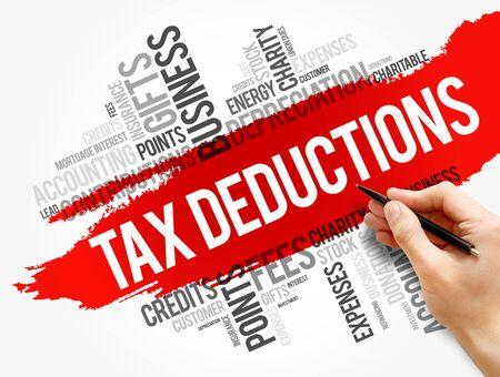 Tax Deductions word cloud collage, business concept background Foto de archivo