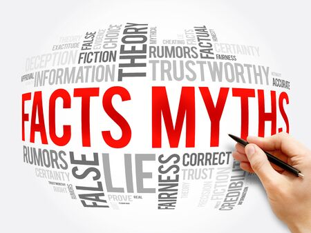 Facts - Myths word cloud collage, concept background