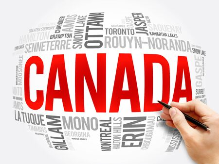 List of cities and towns in Canada, word cloud collage, business and travel concept background 免版税图像