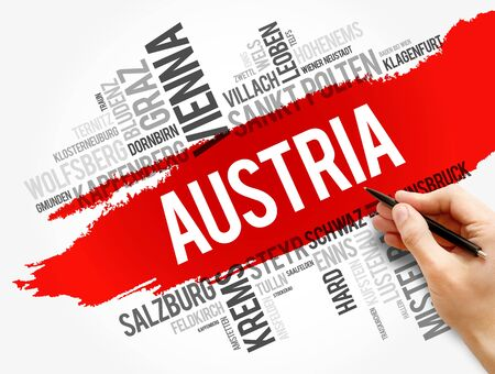 List of cities and towns in AUSTRIA, word cloud collage, business and travel concept background Stock Photo