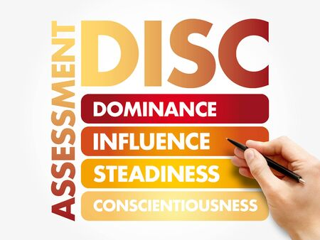DISC (Dominance, Influence, Steadiness, Conscientiousness) acronym - personal assessment tool to improve work productivity, business and education concept Foto de archivo