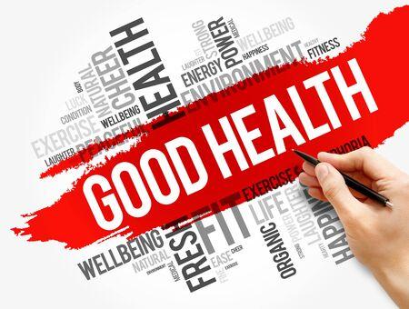 Collage de nube de word de buena salud, fondo del concepto de salud Foto de archivo