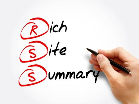 RSS - Rich Site Summary acronym, technology concept background