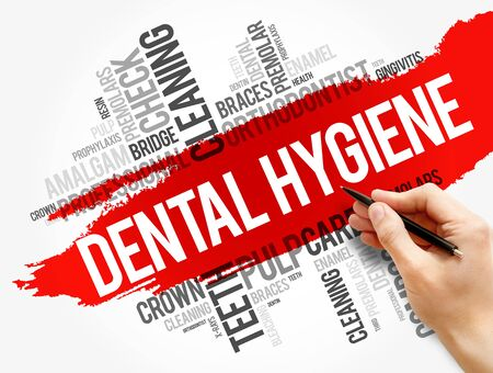 Dental hygiene word cloud collage, health concept background