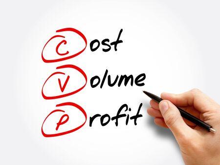 CVP – Cost Volume Profit acronym, business concept background Foto de archivo
