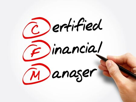 CFM – Certified Financial Manager acronym, business concept background 写真素材