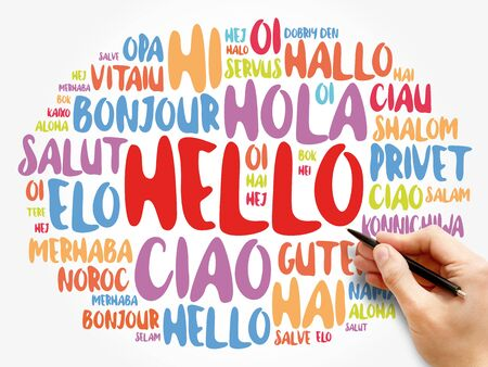 Hello word cloud in different languages of the world, background concept Zdjęcie Seryjne