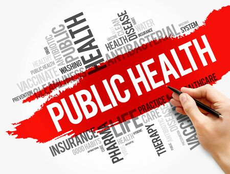Public health word cloud collage, healthcare concept background Imagens