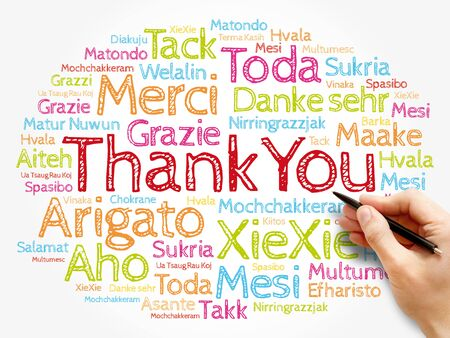 Thank You Word Cloud background, all languages, multilingual for education or thanksgiving day Zdjęcie Seryjne