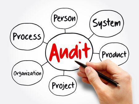 Audit evaluation area mind map flowchart, business concept for presentations and reports Foto de archivo