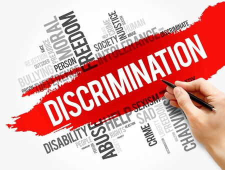 Discrimination word cloud collage, social concept background 스톡 콘텐츠