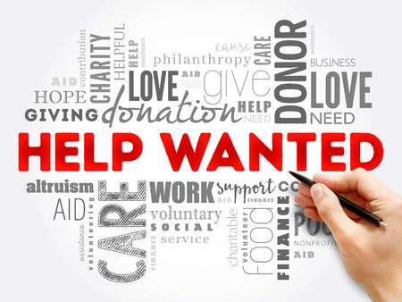Help Wanted word cloud collage, social concept background 스톡 콘텐츠