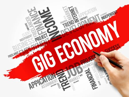 Gig Economy word cloud collage, business concept background