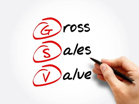 GSV - Gross Sales Value acronym, business concept background