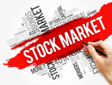Stock Market word cloud collage, business concept background