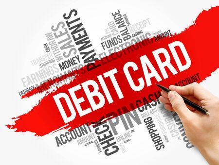 Debit Card word cloud collage, finance business concept background Banque d'images