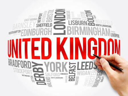 List of cities and towns in the United Kingdom, word cloud collage, travel concept background Banque d'images