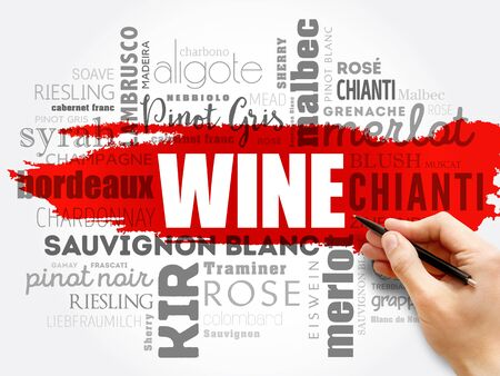 WINE VARIETALS Types word cloud collage, concept background Stok Fotoğraf