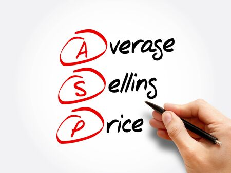 ASP - Average Selling Price acronym, business concept background 스톡 콘텐츠