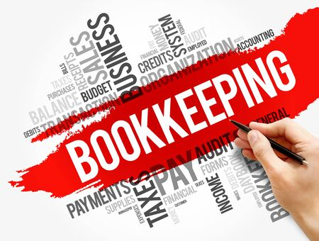 Bookkeeping word cloud collage, business concept background