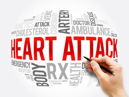 Heart Attack word cloud collage, health concept background Banque d'images