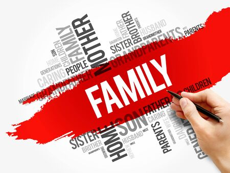 Family word cloud collage , social concept background