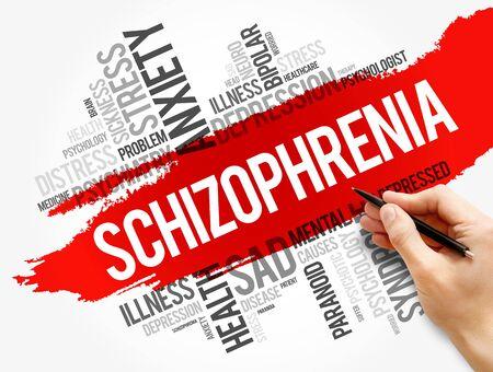 Schizophrenia word cloud collage, health concept background