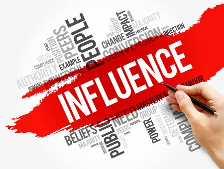Influence word cloud collage, business concept background