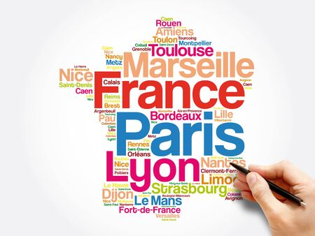 List of cities and towns in FRANCE, map word cloud collage, business and travel concept background