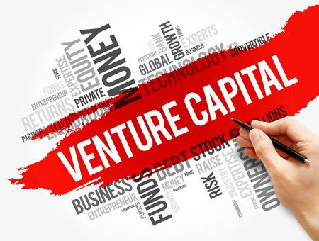 Venture Capital word cloud collage, business concept background