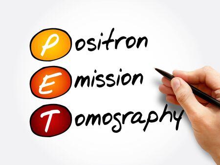 PET - Positron Emission Tomography acronym, concept background Foto de archivo