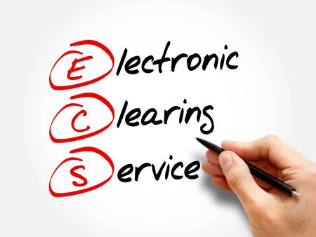 ECS - Electronic Clearing Service acronym, business concept background Фото со стока