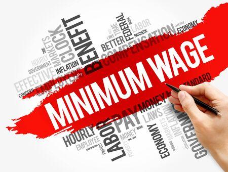 Minimum Wage word cloud collage, business concept background Stok Fotoğraf