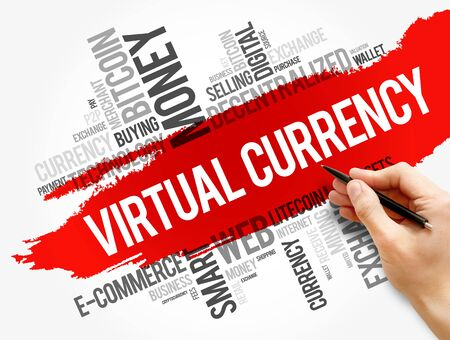 Virtual currency word cloud collage, business concept background