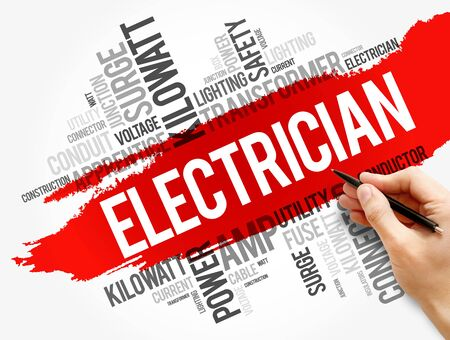 Electrician word cloud collage, concept background 版權商用圖片