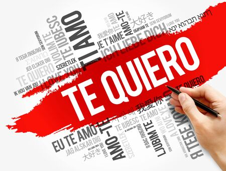 Te quiero (I Love You in Spanish) in different languages of the world, word cloud background