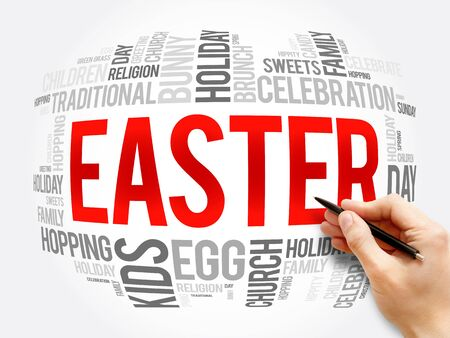 Easter word cloud collage, holiday concept background