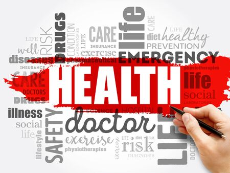 HEALTH word cloud collage, concept background Stok Fotoğraf