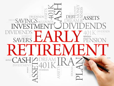 Early Retirement word cloud collage with great terms such as investments, budget, finance business concept background