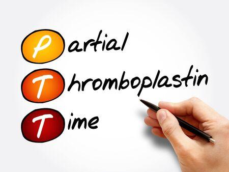 PTT - Partial Thromboplastin Time acronym, concept background Banco de Imagens