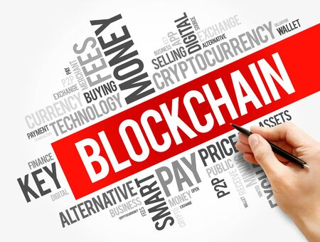 Blockchain cryptocurrency coin word cloud collage, business concept background