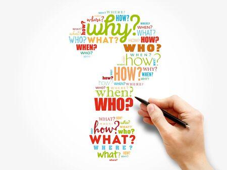 Fragezeichen, Fragewörter Cloud-Konzept Hintergrund