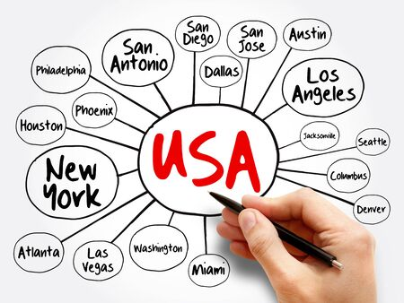 USA cities mind map flowchart, travel business concept for presentations and reports Stock Photo