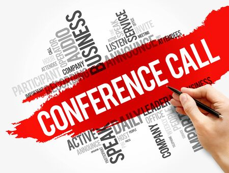 Conference Call word cloud collage, business concept background