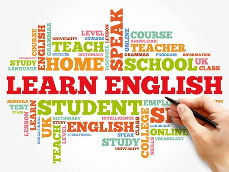Learn English word cloud collage, education concept background