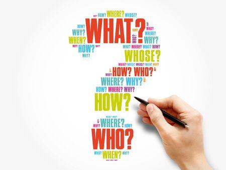 Signo de interrogación, fondo de concepto de nube de palabras de pregunta