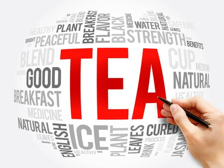 TEA word cloud collage, food and drink concept background